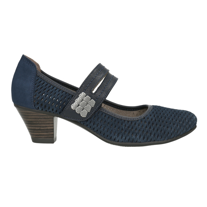 Blaue Lederpumps der Weite H bata, Blau, 623-9600 - 26
