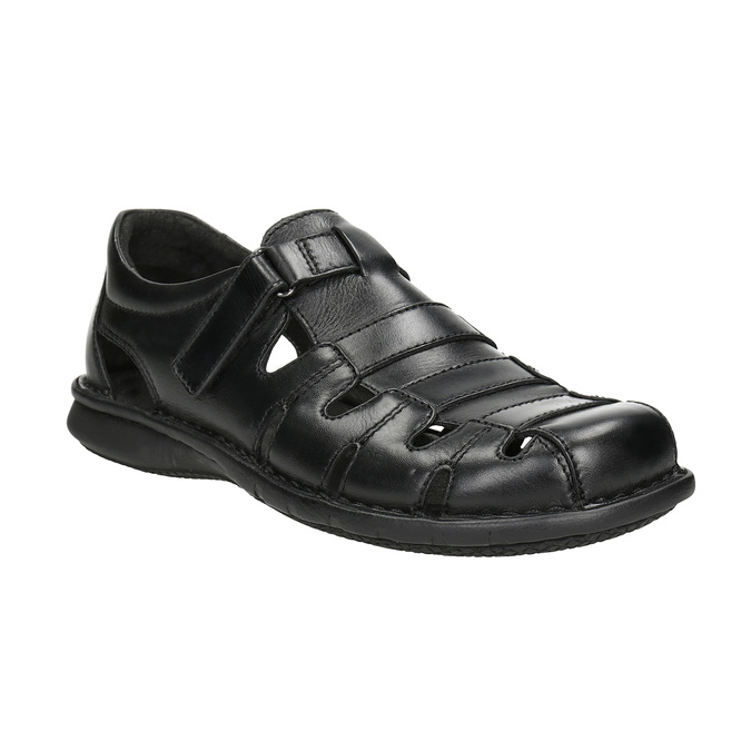Schwarze Herrensandalen aus Leder bata, Schwarz, 864-6600 - 13