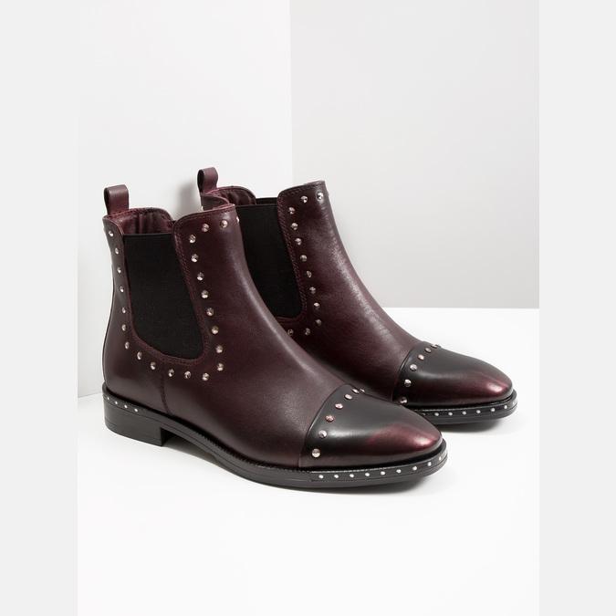 Damen-Chelsea-Boots aus Leder bata, Rot, 596-5679 - 18
