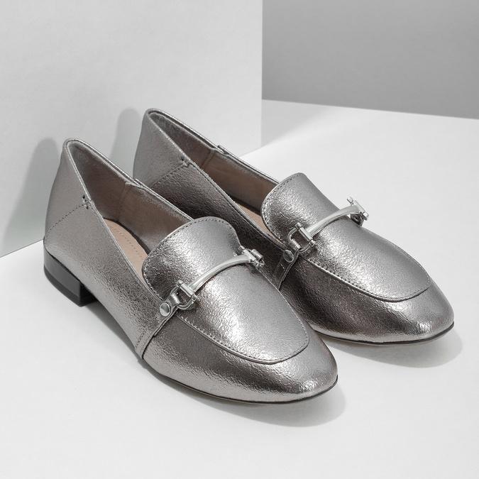 Silberne Mokassins mit Schnalle bata, Silber , 511-1609 - 26