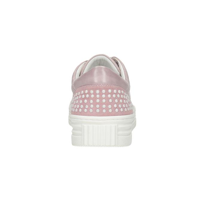 Rosa Leder-Sneakers mit kleinen Perlen bata, Rosa, 546-5606 - 16